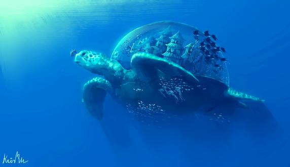 Обои Большая черепаха с замком в панцире под водой