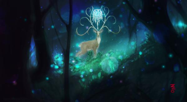 Обои Олень с необычными рогами в лесу, by KiJaein
