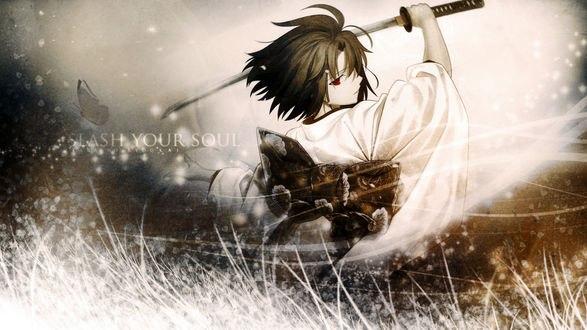 Обои Шики Реги / Ryougi Shiki из аниме и манги Граница Пустоты: Сад Грешников / Kara no Kyoukai: The Garden of Sinners, делает взмах катаной (Slash your soul)