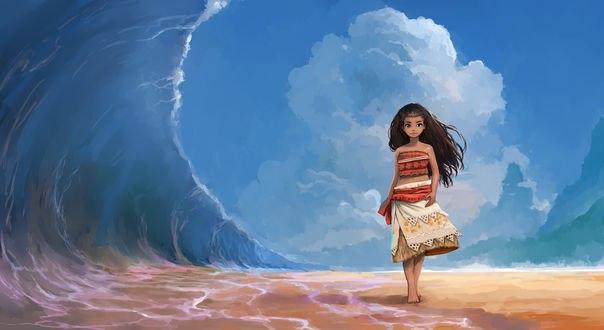 Обои Moana Waialiki / Моана Ваялики из мультфильма Моаnа / Moaнa, by ombobon