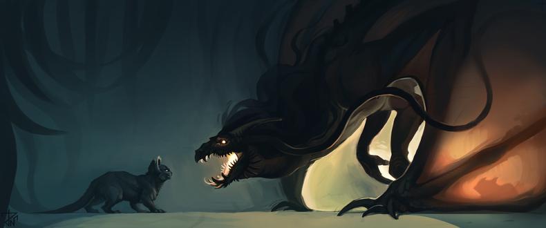 Обои Кошка и перед ней огромный дракон, by deathnear