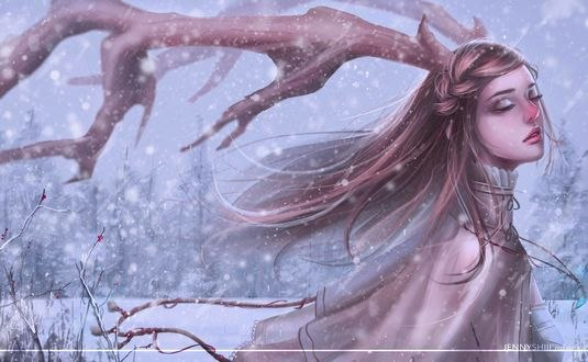 Обои Девушка с оленьими рогами на фоне снега, by jennyshiii