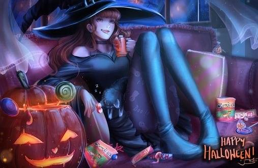 Обои Девушка-ведьмочка на фоне еды и тыквы держит кружку (happy halloween / счастливого Хеллоуина), by jennyshiii