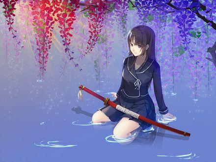Обои Еми Исаяма / Isayama Yomi с катаной сидит на коленях в воде под цветущей глицинией из аниме Ga-Rei Zero / Игра после школы