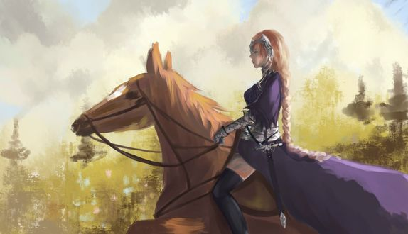 Обои Рулер / Ruler с косой верхом на лошади из аниме и манги Судьба: Апокриф / Fate / Apocrypha, а также онлайн RPG игры Fate / Grand Order
