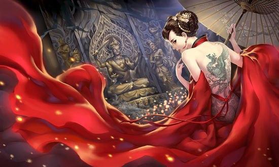 Обои Девушка в красном с тату на спине c зонтом в руке, by Shen shen