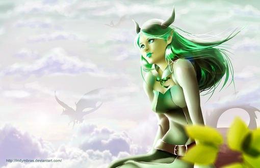 Обои Рогатая девушка с зелеными волосами на фоне неба, by IndyMBras