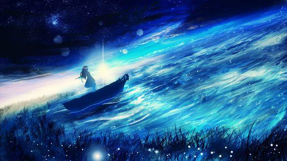 Обои Девушка в лодке на фоне заката, by Y_Y