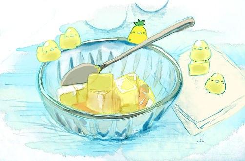 Обои Желтые птички и чашка с кусочками лимонного желе