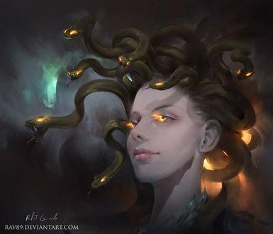 Обои Девушка со змеями на голове, by Rafal Gorniak