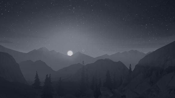 Обои Ночной пейзаж из игры Пожарный дозор / Firewatch