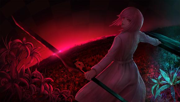 Обои Белокурая девушка с мечом и чемоданом на поле цветов, by Limdog