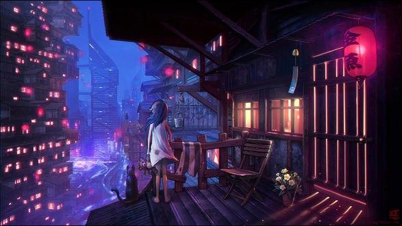 Обои Девочка в белой ночнушке держит в руке плюшевого медведя, стоя рядом с черной кошкой и смотрит на ночной город, by Shinsen