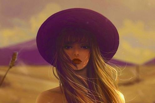 Обои Девушка с длинными волосами в шляпе на фоне неба, by jennyshiii