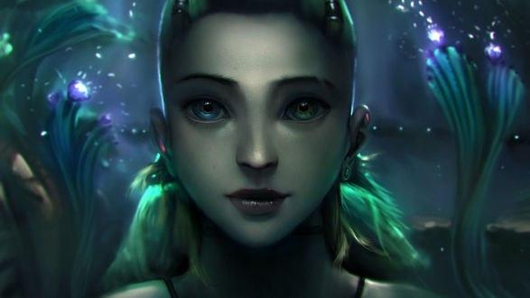Обои Зеленоволосая девушка с разноцветными глазами на фоне ночного неба, by Wen-JR