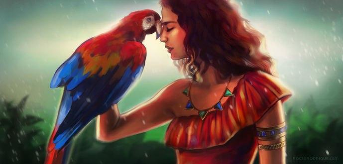 Обои Девушка с попугаем на руке, by RocioRodriguez