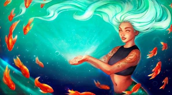 Обои Девушка под водой в окружении рыбок, by RocioRodriguez