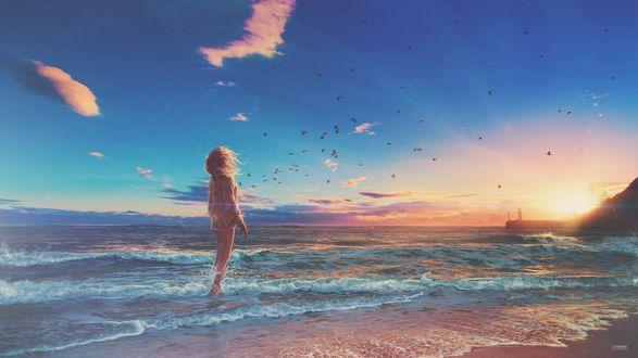 Обои Девушка стоит у моря на закате