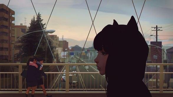 Обои Девушка-брюнетка с ушками на капюшоне, на мосту через дорогу, смотрит куда-то в сторону, художник Илья Кувшинов
