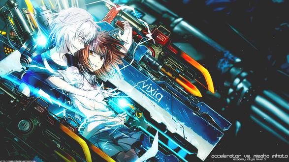 Обои Accelerator vs Misaka Mikoto / Микото Мисака против Акселератора из аниме Некий Магический Индекс / Индекс волшебства / To Aru Majutsu no Index и Некий Научный Рейлган / To Aru Kagaku no Railgun (Vixiq)
