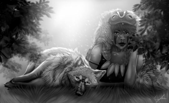 Обои Принцесса Мононокэ Сан / San и богиня-волчица Моро / Moro из аниме Princess Mononoke / Принцесса Мононоке / Mononoke Hime, by Ryarie