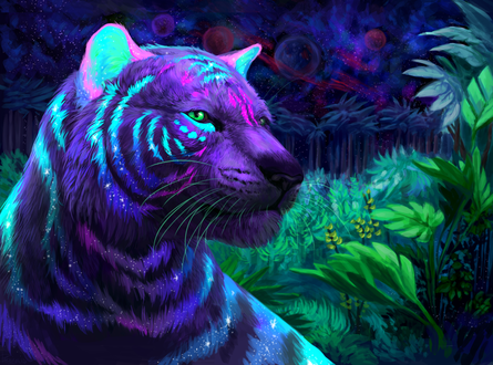 Обои Мистический тигр на фоне природы, by Cat-Patrisiya
