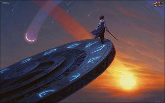 Обои Девушка с мечом стоит на краю платформы с мистическими знаками