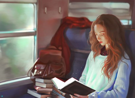 Обои Девушка, читая книгу, едет в поезде, by Loy Baldon