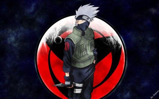 Обои Какаши Хатаке / Kakashi Hatake в форме Конохи на фоне шарингана из аниме Наруто / Naruto