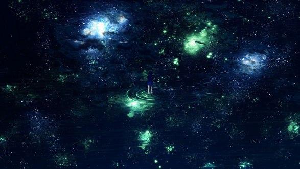 Обои Девушка стоит в воде, в которой отражается ночное небо, by Y_Y