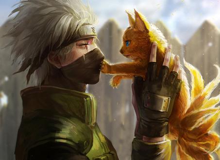 Обои Какаши Хатакэ / Kakashi Hatake из аниме Наруто / Naruto с маленьким девятихвостым лисенком