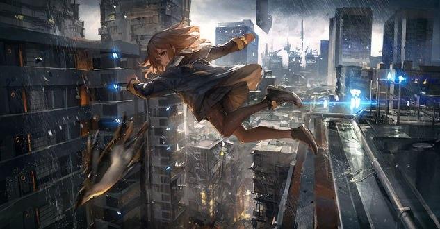 Обои Девочка прыгает за птицей над городом, by THE-LM7