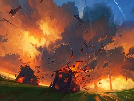 Обои Несколько смерчей возле разрушающихся домов, art by Rhads