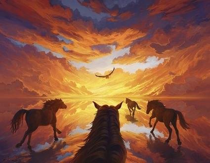 Обои Кони бегут по воде, в которой отражается закатное небо, art by Rhads