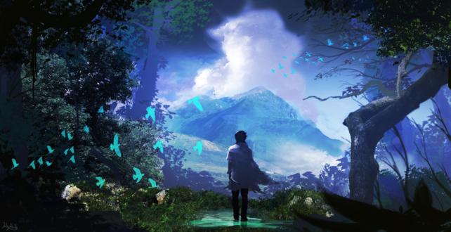 Обои Парень стоит на фоне горы под облачным небом рядом с голубыми птицами