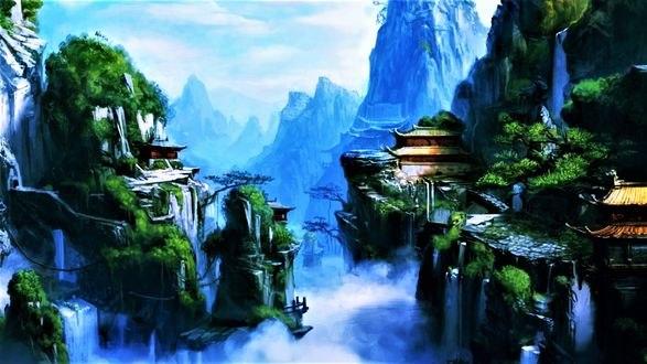 Обои Восточная деревня на скалах с водопадами
