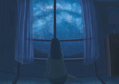 Обои Девушка смотрит в окно на ночное небо и млечный путь