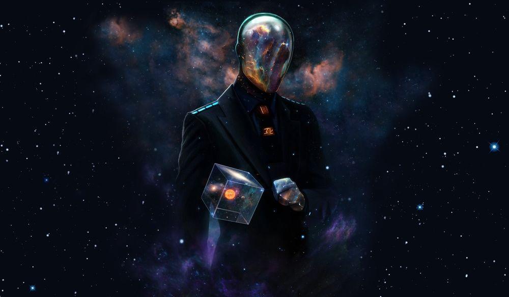 Обои для рабочего стола Человек с кубом в руке на фоне космоса, by Dan Luvisi