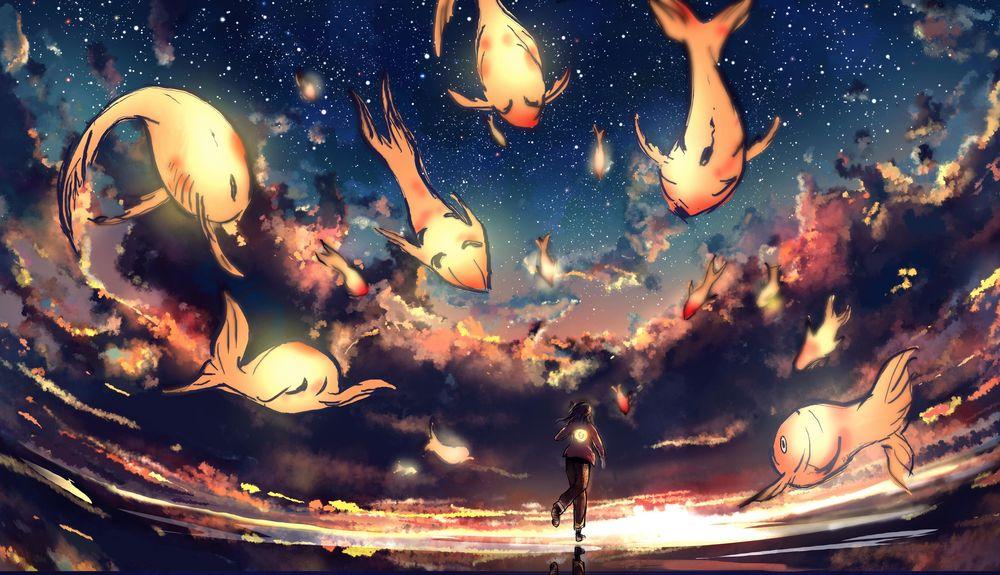 Обои для рабочего стола Девушка на фоне ночного неба и золотых летающих рыб, by JonnyCupCake