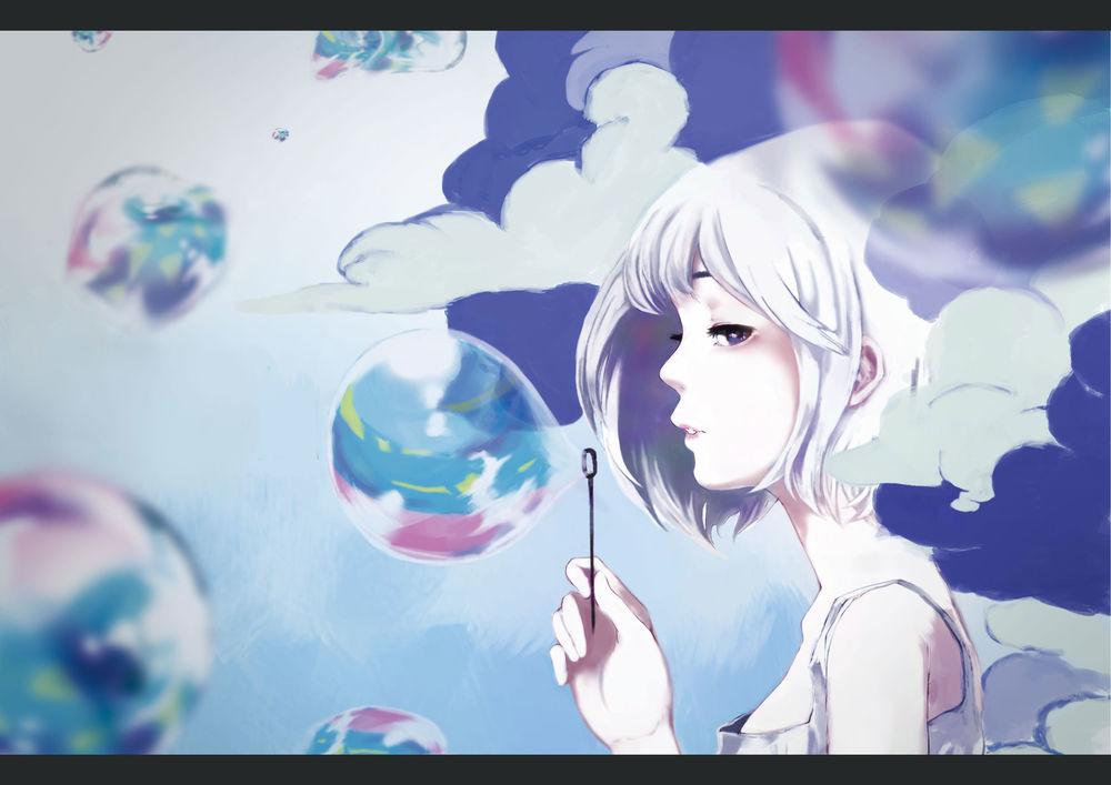 Обои для рабочего стола Девушка пускает мыльные пузыри, by mochidukirei