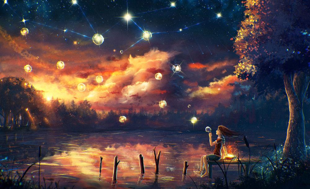 Обои для рабочего стола Девочка сидящая на мосту выдувает мыльный пузырь на фоне воды и заката, by Sylar113