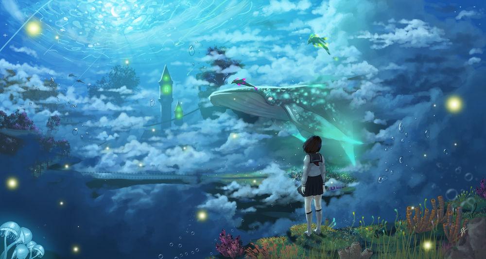 Обои для рабочего стола Девушка в школьной форме смотрит на кита в небе в подводном мире, by Tsukinopandaaa