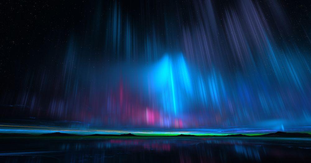 Обои для рабочего стола Северное сияние в ночном небе над водоемом