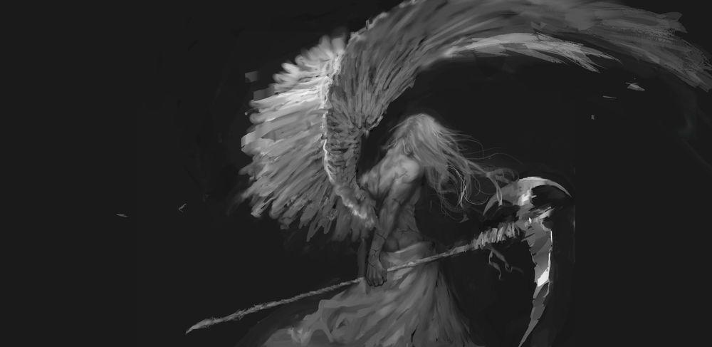 Обои для рабочего стола Ангел-смерти с косой в руке, by bloody-little-turd