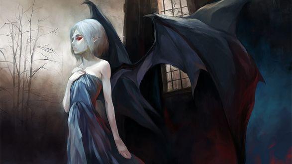 Обои Темный ангел в платье