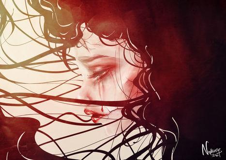 Обои Девушка плачет кровавыми слезами, by sakuretta94