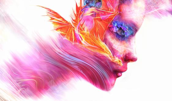 Обои Огненный дракон и лицо парня, by Lusidus