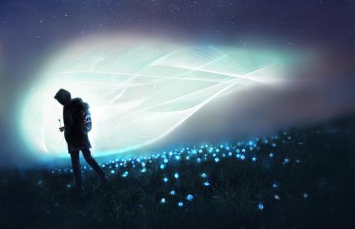 Обои Человек с рюкзаком держит в руках светящийся одуванчик, by Lusidus