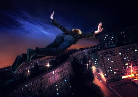 Обои Парень парит над ночным городом, by Lusidus