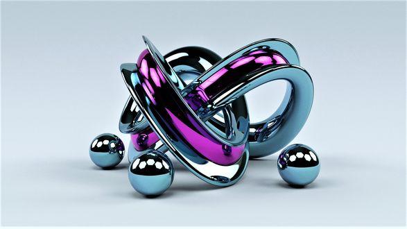 Обои Три железных шарика и спираль на сером фоне